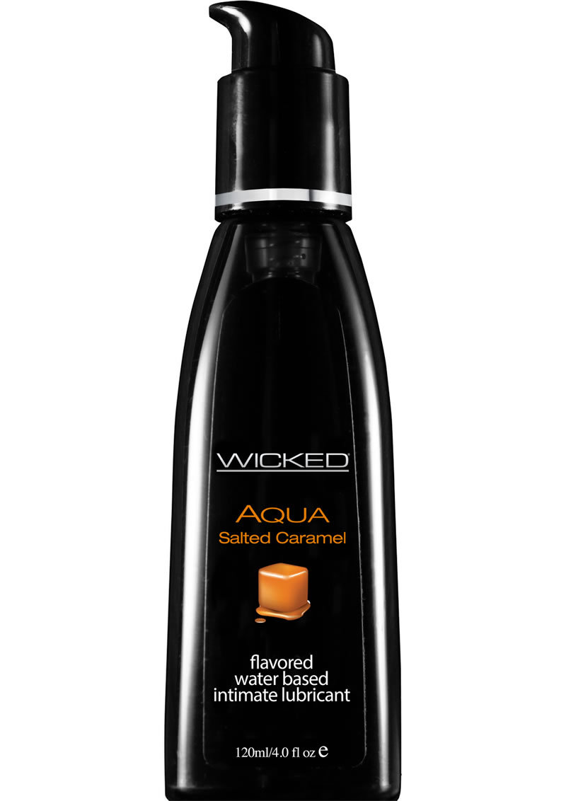 Wicked Aqua Water Based Flavored Lubricant Salted Caramel 4 Oz